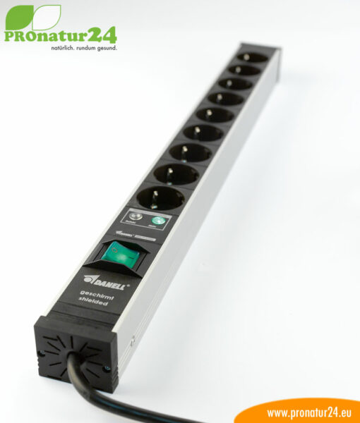 Shielded power strip with on/off switch, 9 sockets
