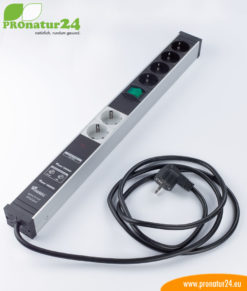 Shielded PC power strip with full protection filter system, 6 sockets – also filters up to 80 MHz (PLC Powerline)