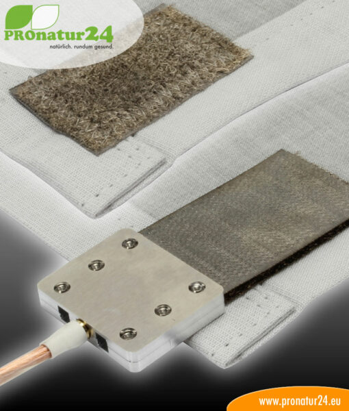 Shielding flooring underlay. HF attenuation (cell phone, WLAN, LTE…) of up to 35 dB and grounding of LF electric fields (power supply) possible.
