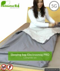Shielding sleeping bag SET Electrosmog PRO all inclusive. Protection against electrosmog HF (up to 41 dB) for on the way. Groundable. Effective against 5G!