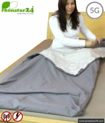 Shielding sleeping bag TSB Elektrosmog PRO with protection against HF electrosmog by radio up to 41 dB (WLAN, mobile phone). Groundable. Effective against 5G!