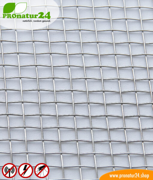 V4A10 stainless steel mesh against electrosmog HF + LF, up to 40 dB attenuation against radio
