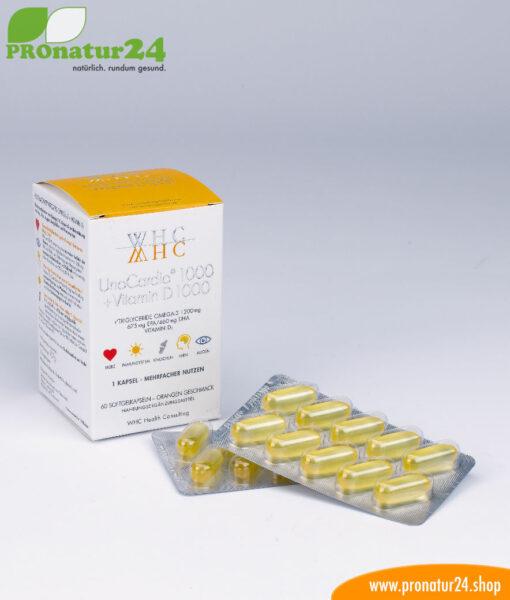 WHC UnoCardio 1000 + vitamin D 1000 (OMEGA-3 fatty acids), 60 Softgels
