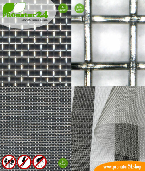 V4A03 stainless steel mesh against electrosmog HF + LF, up to 55 dB attenuation against radio