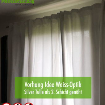 In practice – visual of lovely curtains with Silver Tulle