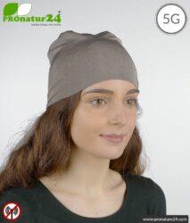 Shielding flexible headgear TKE / elastic headscarf. Protection up to 50 dB against electrosmog (mobile phones, WLAN, LTE). Effective against 5G!