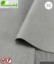 SILVER ELASTIC shielding fabric for clothing. Up to 50 dB attenuation of HF radiation. Groundable. Effective against 5G!