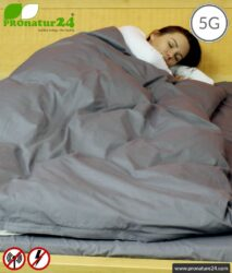 Shielding bed linen TBL with shielding against HF electrosmog up to 41 dB (WIFI, mobile phone). Groundable. Effective against 5G!