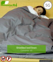 Shielding bed linen TBL set all inclusive. Shielding against HF electrosmog up to 41 dB (WIFI, mobile phone). Groundable. Effective against 5G!
