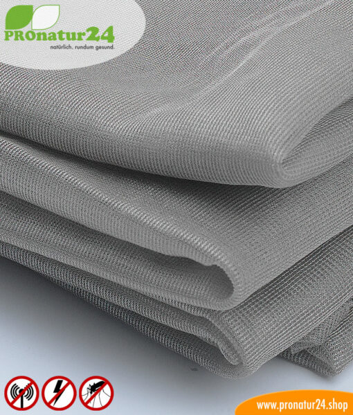 SILVER TULLE shielding fabric for curtains and canopies. Up to 50 dB attenuation of high-frequency radiation, can be grounded for LF protection.