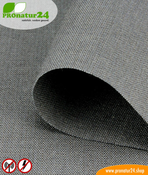 STEEL GRAY shielding fabric for curtains, bedding and ceilings. Up to 35 dB attenuation of high-frequency radiation, can be grounded for LF protection.