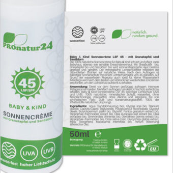 PROnatur24 SPF 45 sun cream, especially for babies and children