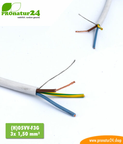 H)05VV-F3G shielded, flexible electric cable.
