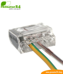 Push-wire connector to connect the ground wire of the shielded electric / sheathed cable to the in-wall / cavity-wall box