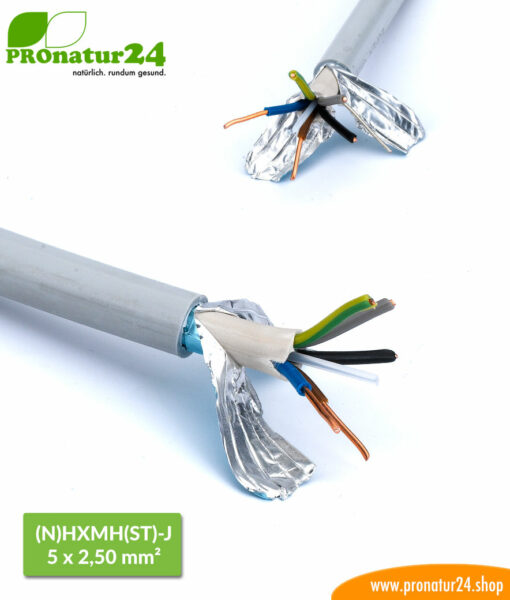 (N)HXMH(St)-J 5 x 2.5 mm shielded electric cable. Halogen-free and plasticizer-free electric cable to protect against electric waves.