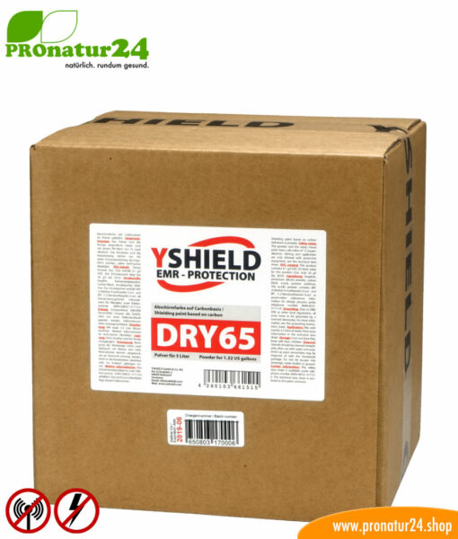 DRY65 powdered shielding paint by YSHIELD. HF attenuation of up to 43 dB. LF grounding mandatory.