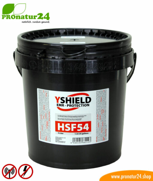 HSF54 shielding paint, HF attenuation of up to 44 dB, LF grounding mandatory. A universal classic by YSHIELD.