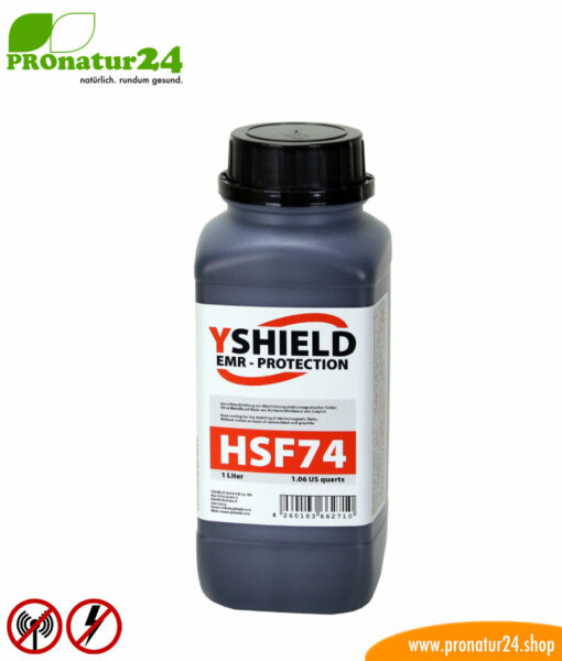HSF74 shielding paint by YSHIELD, HF attenuation of up to 45 dB, LF grounding mandatory. Without preservatives.