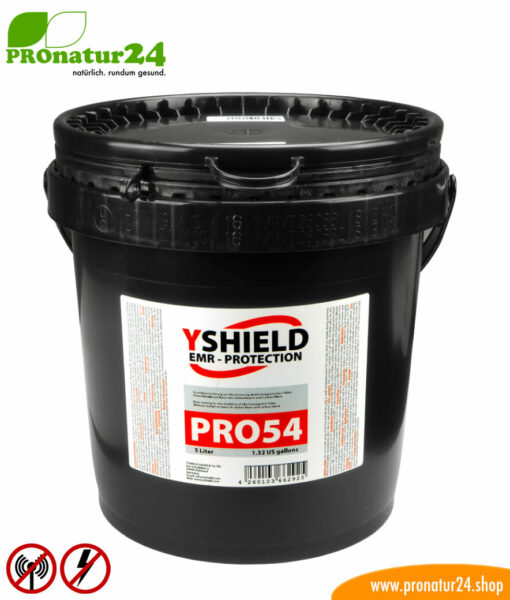 PRO54 shielding paint. HF attenuation of up to 40 dB, LF grounding mandatory. No graphite – does not fade. Technically the best by YSHIELD.