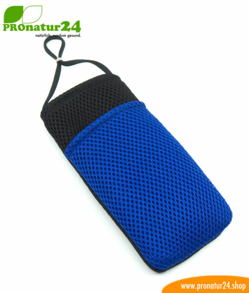 Cell phone cover and case eWall with radiation protection, 3-in-1 function, reversible, black-blue