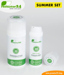 Sun cream SUMMER SET: SPF 30 + 45 mineral protection, BIO ingredients, UVA, UVB, waterproof. NO CHEMICALS, NO ALLERGENS, and much more. Ideal for NUDE BATHING / NUDISM