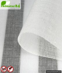 Shielding fabric EVOLUTION with integrated belt weighting. HF shielding up to 30 dB. Crease-resistant, hard-wearing, easy to clean.