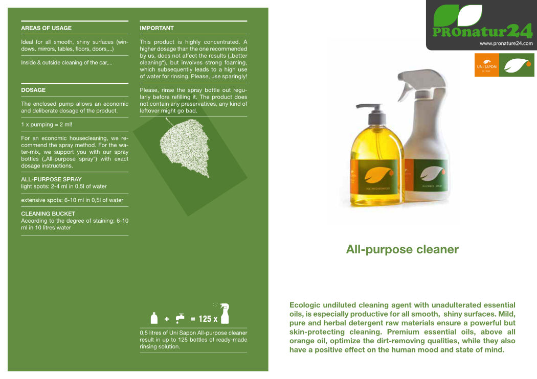 Application of all-purpose cleaner from UNI SAPON