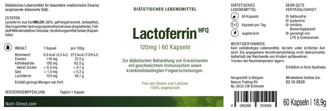 Lactoferrin, 120 mg, dietetic food, Label