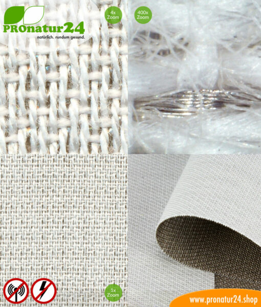 SILVER TWIN shielding mesh / fabric for curtains. Up to 57 dB attenuation of high-frequency radiation, can be grounded for LF protection.