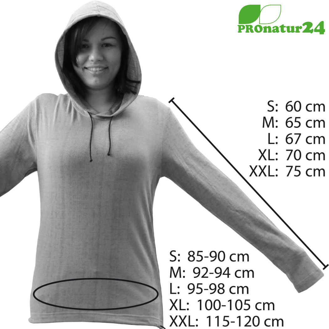 Size chart for the shielding hoodie TEO