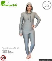 Shielding clothing set with hoodie and pants. Protection up to 50 dB against HF electrosmog (mobile phones, WIFI, LTE) for electro-sensitive people. Effective against 5G!