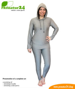 Shielding clothing set with shielding hoodie and shielding trousers (underpants).