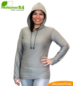 Shielding Hoodie against electrosmog by mobile phone, WIFI, LTE, etc. for electrosensitive people.