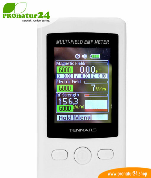 TENMARS TM-190 Multi-Field EMF Meter. Display.