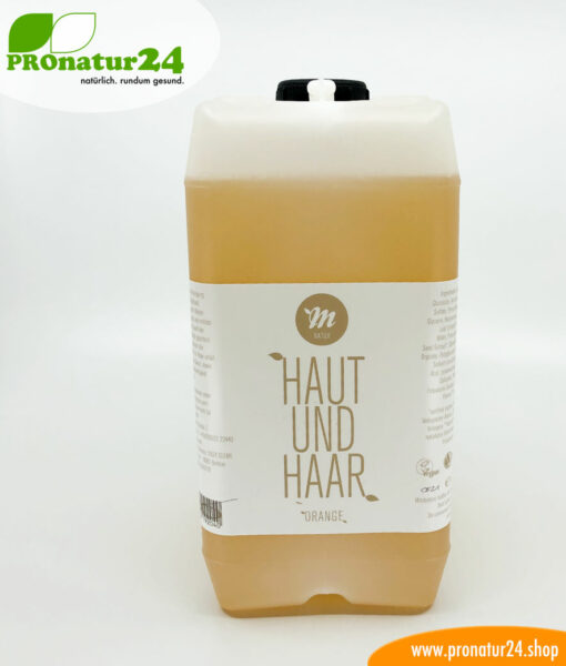 """All-in-one"" Skin and Hair shampoo by UNI SAPON. With a fresh orange fragrance."