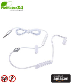 KKmoon air tube monaural in-ear headset with microphone. Against electrosmog by air tube technology. Jack plug. For iPhone, Android, smartphones. Available at Amazon.