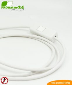 Shielded cable with on / off switch, plug type EF and free end, white, 2 meters length