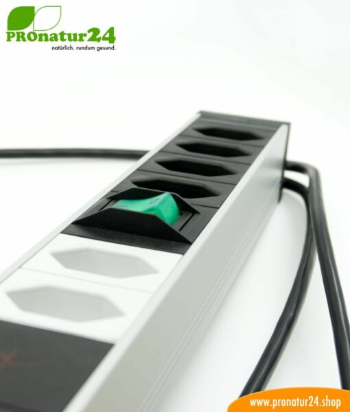 Shielded PC power strip with full protection filter system, 6 sockets (4+2) – also filters up to 80 MHz (PLC Powerline), Type J