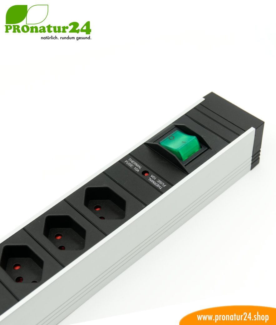 Shielded power strip with on/off switch, 6 sockets, Type J (Switzerland)