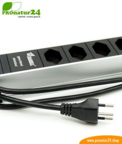 Shielded power strip with on/off switch, 6 sockets, Type J