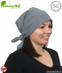 Shielding headscarf TKG with 41 dB shielding attenuation. Protection against HF electrosmog (mobile phone, WIFI, LTE). Not stretchable, grey, 2 variants. Effective against 5G!