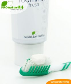 Toothpaste fresh. With a mineral brush and without fluorine / fluoride, without sugar * or artificial sweetener, without foaming surfactants and much more.