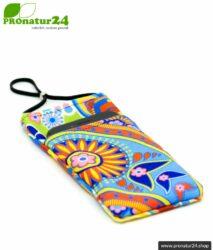 Cell phone case eWall in unique RAINBOW.flower design. XL.