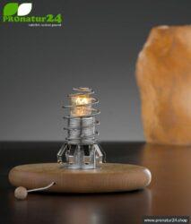 Shielded lamp base for retrofitting e.g. salt crystal lamps and suitable lamp shades. E14 socket, 15 watt.