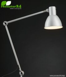 Shaded luminaire for desk and workplace. Ideal work lamp. 48 watt. E27. In white version. With clamping foot holder.