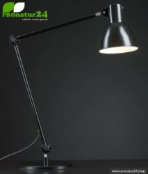 Shielded lamp for desk and workplace. Ideal work lamp. 48 Watt. E27. Black design. Choose the mounting!