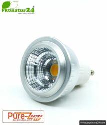 LED SPOT bulb Pure-Z-Retro BIO LIGHT, clear, GU10, 5 watt, 380 lumen, warm white (2700 K). Equivalent to 40 Watt light output.