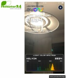 Lightspectrum Pro EVO for measuring the color temperature in kelvin and displaying the color spectrum. Available for iOS and Android.