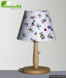 Shielded table lamp for children made of beech wood with lampshade made of cotton. 31 cm high, E27 socket, 40 Watt.