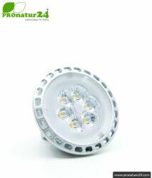 6 watts LED full spectrum spot. Natural flicker-free light. Bright as 35 watts! 5200 Kelvin. 450 Lumen. GU5.3 (MR16) socket.